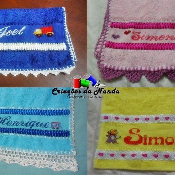 😉Lindas toalhinhas de lavabo infantis bordadas em ponto cruz com nome. ❤️❤️❤️ Aceito encomendas Valor: R$34,00 Informações pelo whatsapp (13)981615834