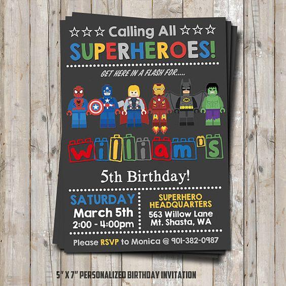 Hey, I found this really awesome Etsy listing at https://www.etsy.com/uk/listing/261629579/lego-superhero-birthday-invitation