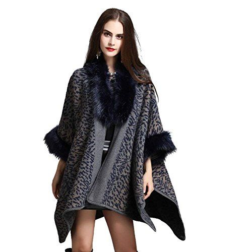 Women Luxury Large Tartan Faux Fur Coatigan Coat Shawl Cape Jacket Long Warm UK