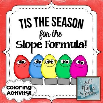 The Slope Formula Holiday Coloring Activity {FREEBIE ...