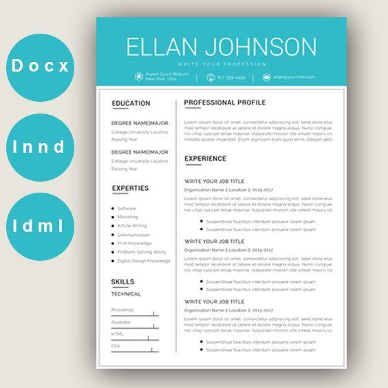 Modern Resume Template Creative Cv For Word Elegant Design With Logo Marketing Designer Teacher Legal Assistant Resume Resumetemplate Career Car