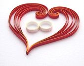 Wedding congratulations card paper quilling wedding bands quilling hearts read white gold