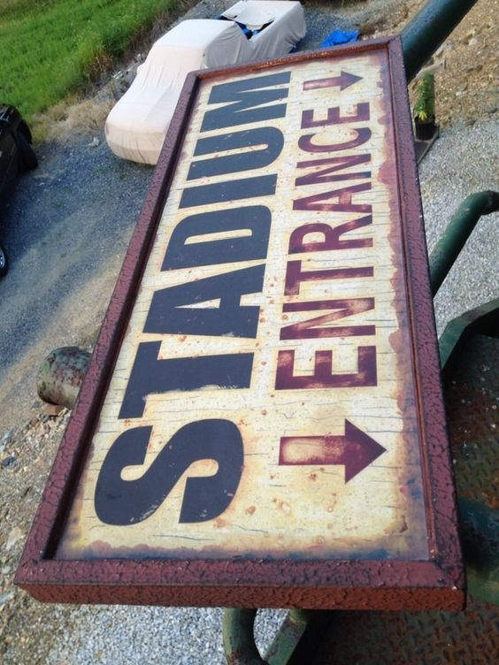 Stadium Entrance Sign Baseball  Football Hockey Basketball Sports Vintage Look