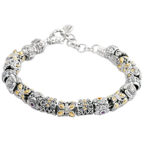 "Silver Charm Bracelet Featuring Gold/Diamond and Multi. Gemstones ""Emm 