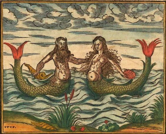 Mermaid and Merman (Sebastian Münster, Cosmographia, 1578):