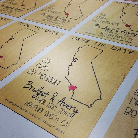 Wooden Save the Dates.  Could also be invitations or postcards . . .