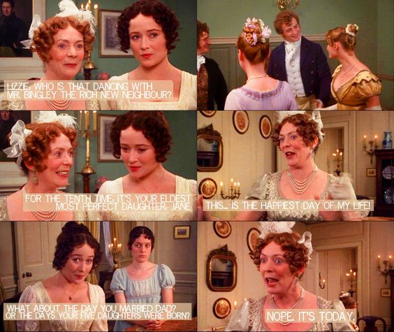 Lizzie Bennet Diaries dialogue over the 1995 Pride and Prejudice mini-series. Source: Mirth & No Matter