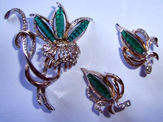 Vintage REJA Rhinestone Brooch and Earring Set $135.00