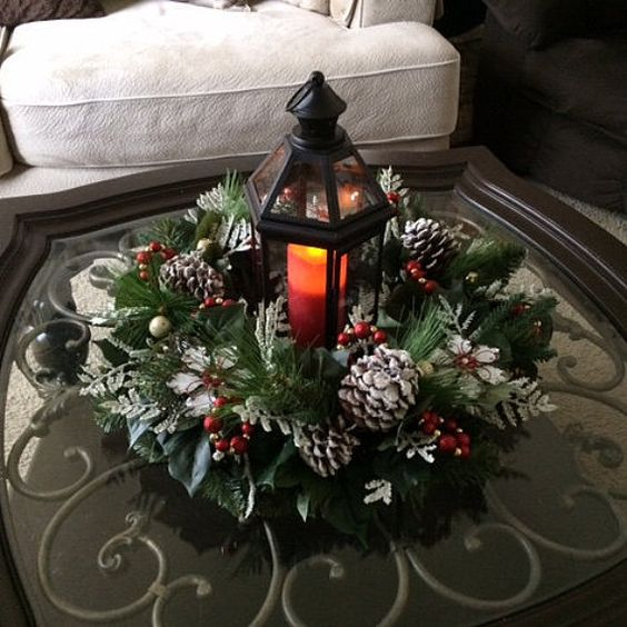 Elegant christmas lantern centerpiece and by