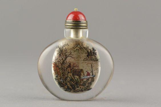 Chinese Glass Painted Snuff Bottle Ye Zhong San