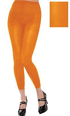 Adult Black Light Neon Orange Footless Tights