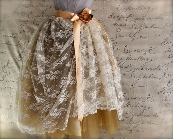 Cream lace and gold tulle skirt for women. Weddings, special occasion lined tutu skirt.. $235.00, via Etsy.