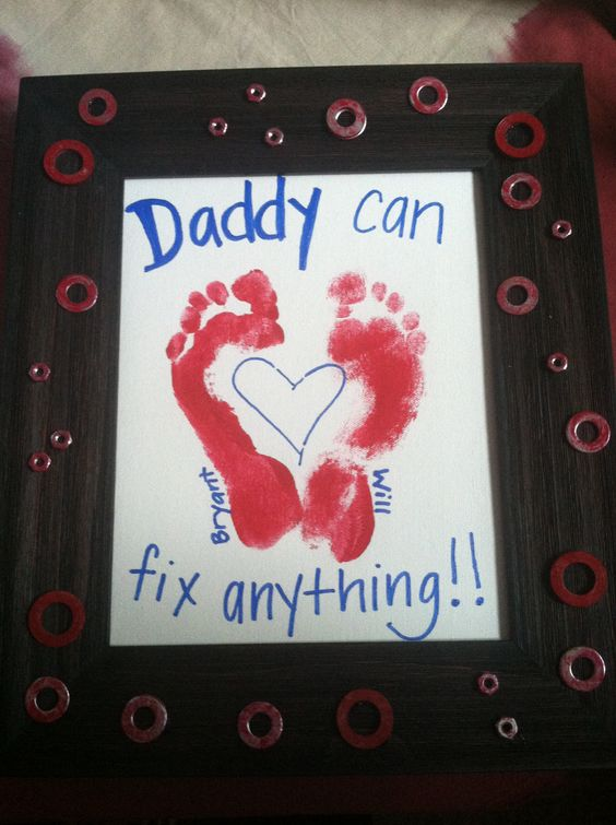 Fathers Day craft from the kids. Footprints make a heart and we