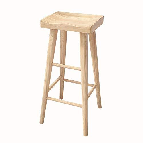 Bar Stool Living Room Furniture Stool Wooden Bar Chair With Footrest Pine High Stool Ergonomic Square Seat Di Solid Wood Dining Chairs Dining Stools Bar Stools