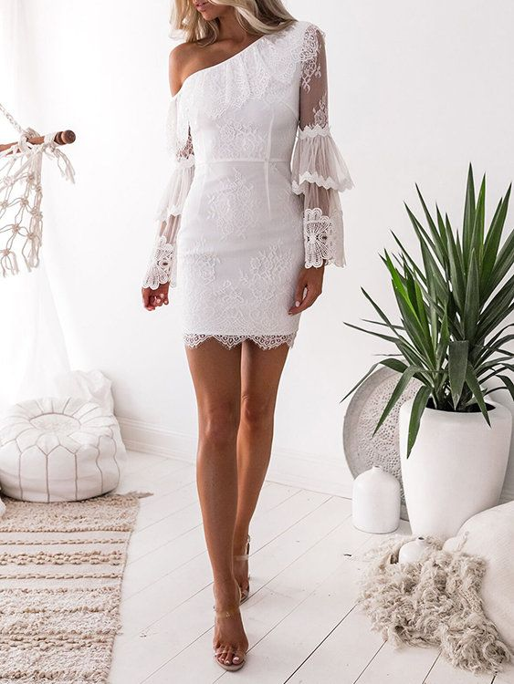 Extra 15 Your First Order On Yonis App White Homecoming Dresses Party Dresses With Sleeves Lace Party Dresses