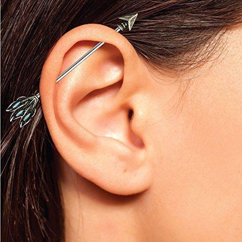 14g 35mm Bump Industrial Barbell Bar Ear Ring Body Piercing Jewellery FREE POST