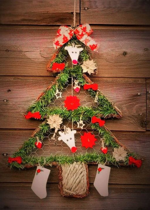 12 Inch Long Grapevine Tree Shaped Wired Christmas Wreath Etsy Wire Christmas Wreath Christmas Wreaths Tree Shapes