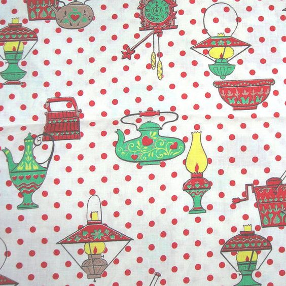 30s Vintage Novelty Print Fabric Kitchen Motif 36 by NotSewIdle, $60.00