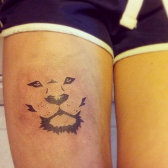 Very simple and meaningful tattoo on a womans thigh the for Meaningful thigh tattoos