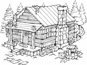 Summer cabin n 14 summer cabin and stamps for Log cabin coloring page