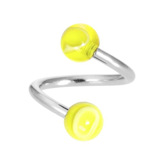 Yellow Acrylic Swirl Spiral Twister Belly Ring