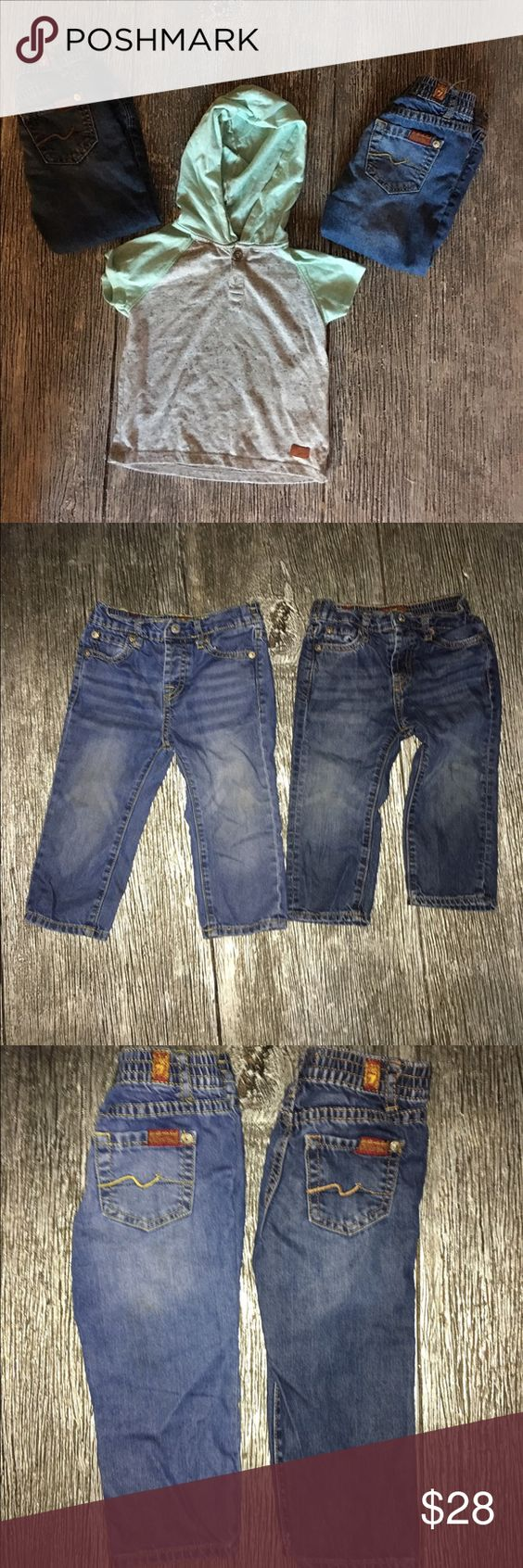 7 for all mankind jeans Baby 7 for all mankind jeans sz 18 months with free top that's also 7 for all mankind ( the top is free since it does have a couple minor stains) great condition as he had so much clothes these are barely worn purchased at Nordstrom @ galleria mall 7 For All Mankind Bottoms Jeans