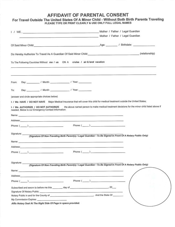 affidavit for parental consent form free download Home Design - One Parent Travel Consent Form