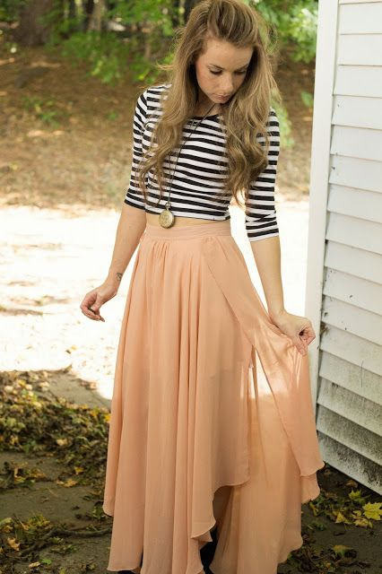 Nautical striped top with chiffon maxi skirt: