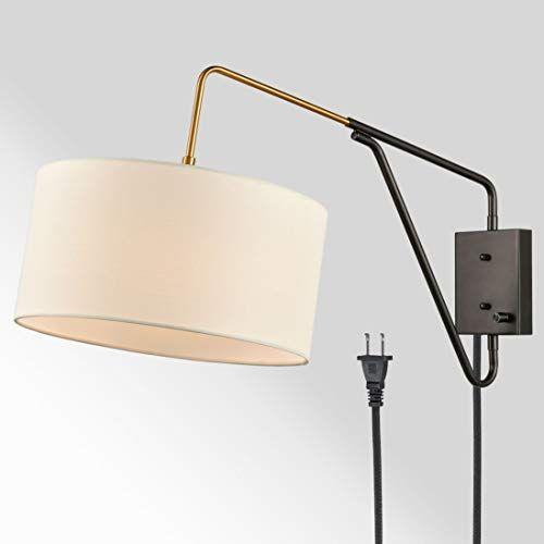 H K Modern Bedroom Adjustable Wall Lamp Plug In Wall Scon Https Www Amazon Com Dp B07ytq1jg5 Ref Cm Sw R Plug In Wall Lamp Wall Lamp Swing Arm Wall Lamps Plug in swing arm wall lamp
