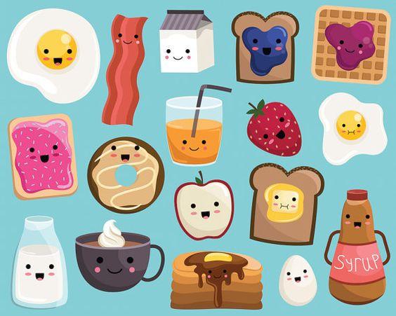 Kawaii Breakfast Food Clipart  Vector PNG & by KennaSatoDesigns
