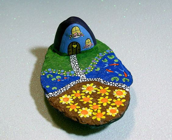 Fairy cottage in blue with Koi pond and sunflower field all in one inch scale miniature.  Americana diorama gift for the farm and ranch collector.  Miniature farm set fairy garden Koi pond hand painted rocks by RockArtiste on Etsy, $60.00