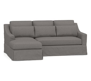 York Slope Arm Deep Seat Slipcovered Chaise Sofa Sectional Canape