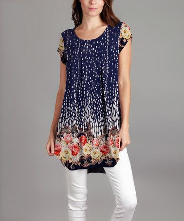 Another great find on #zulily! Blue Floral Tunic - Plus #zulilyfinds