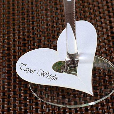 Heart Shaped Platzkarten für Weinglas - Set