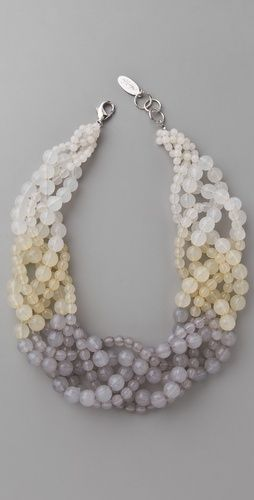 Three strands of small beads, three strands of large ones, then braid.