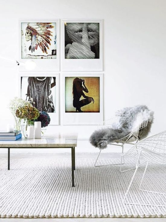 Simple decor, interesting art.