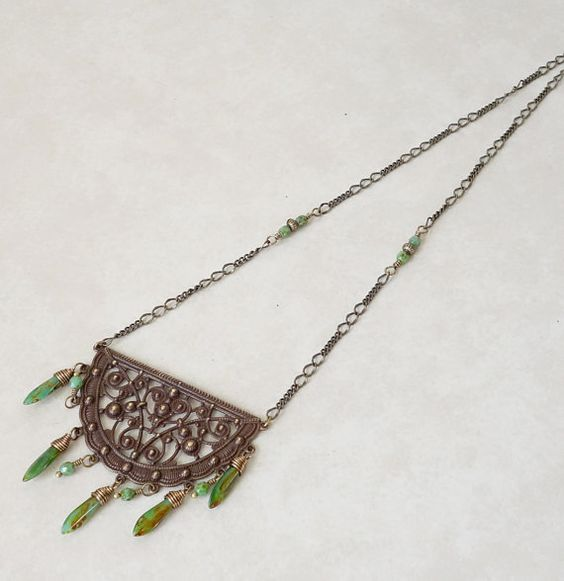 Boho antique brass and turquoise necklace Vintaj by ZoesBeadGarden