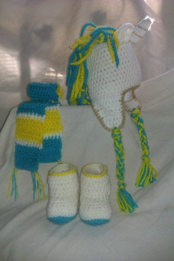 Unicorn Beanie with ear flaps with matching boots and scarf