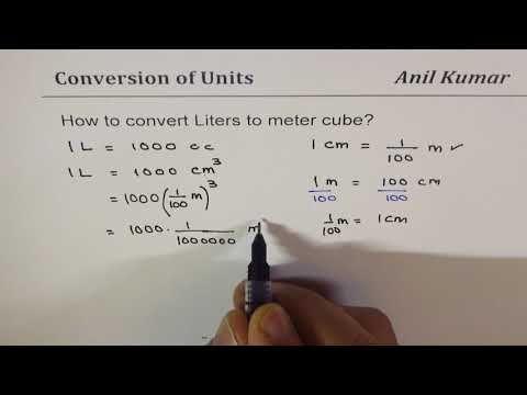 Convert Liters To Cubic Meters 1 L Is 1000 Cm Cube Measurements Youtube Metering Liter Cube