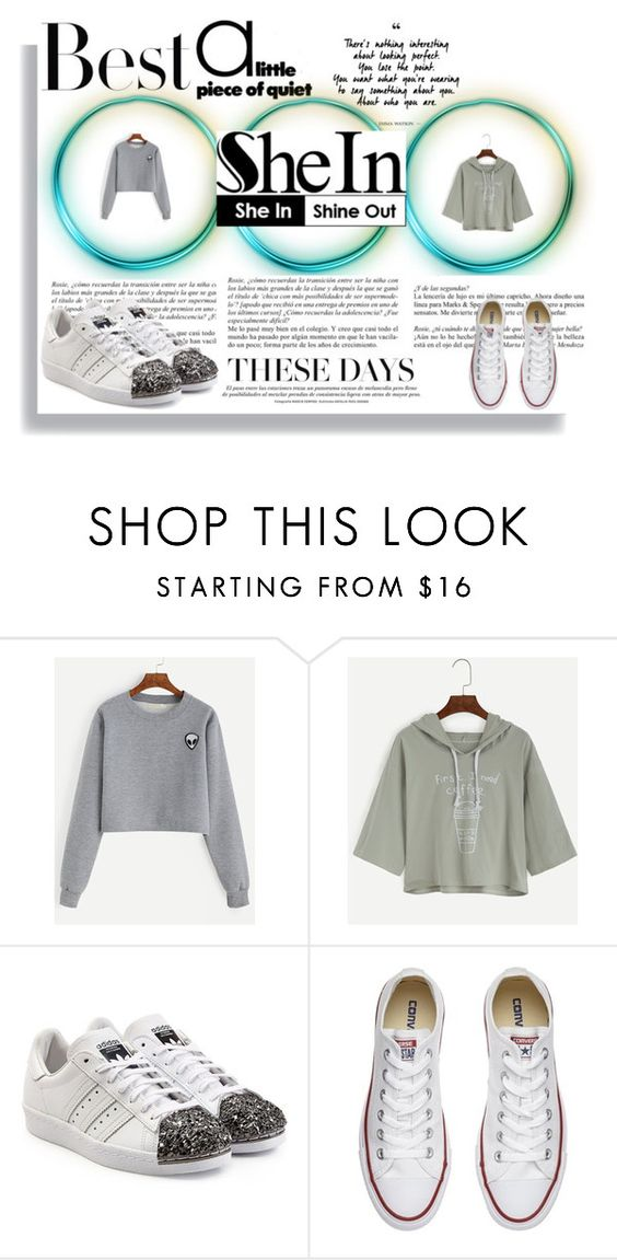 """""""Bez naslova #11"""" by dunjal ❤ liked on Polyvore featuring adidas Originals, Converse, H&M and Whiteley"""