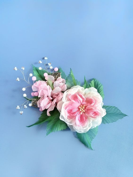Ivory rose hair clip chiffon rose ivory wedding wedding flower fabric rose ivory flower flower hair clip white chiffon flower