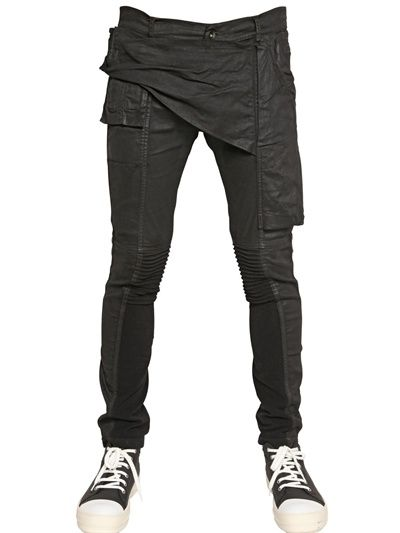 RICK OWENS - 18CM WAXED STRETCH DENIM JEANS - LUISAVIAROMA - LUXURY SHOPPING WORLDWIDE SHIPPING - FLORENCE