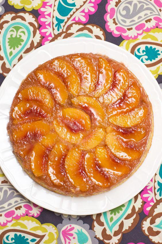 Peach-Almond Upside-Down Cake.