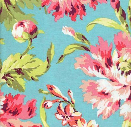 Fabric by the Yard - Aqua Floral