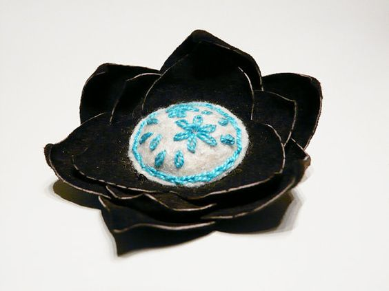 Felt and leather flower brooch Brown White by myRainbowWorld, $17.00