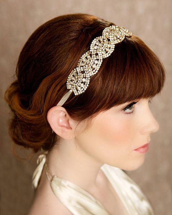 Gold Crystal Headband, Crystal Tiara, Bridal Halo, Bridal