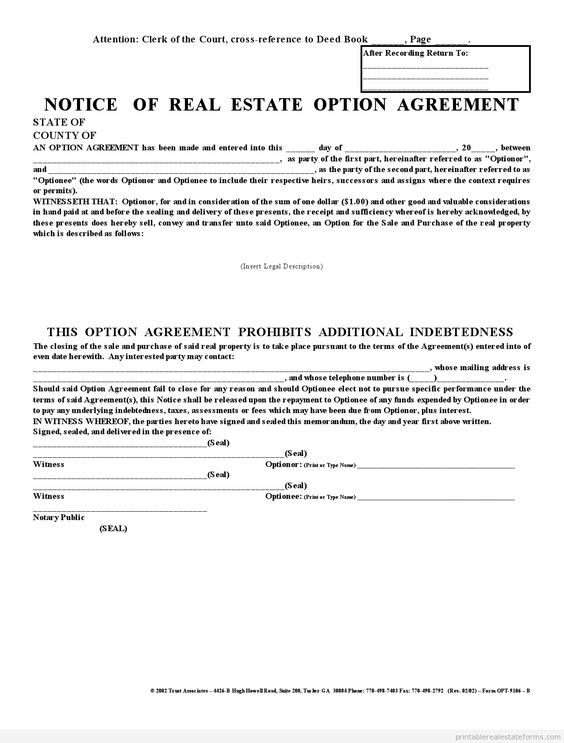 Printable Sample Affadavit Memorandum Of Option  Party Agreement