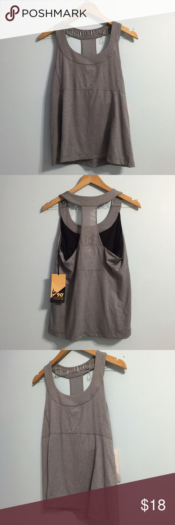 90° Gray Athletic Top (XL) 90° Gray Athletic Top in size XL.   Features: T-back style  Rounded neck Built in mesh bra.  Wicking material.   New with tags Unworn Danskin Tops