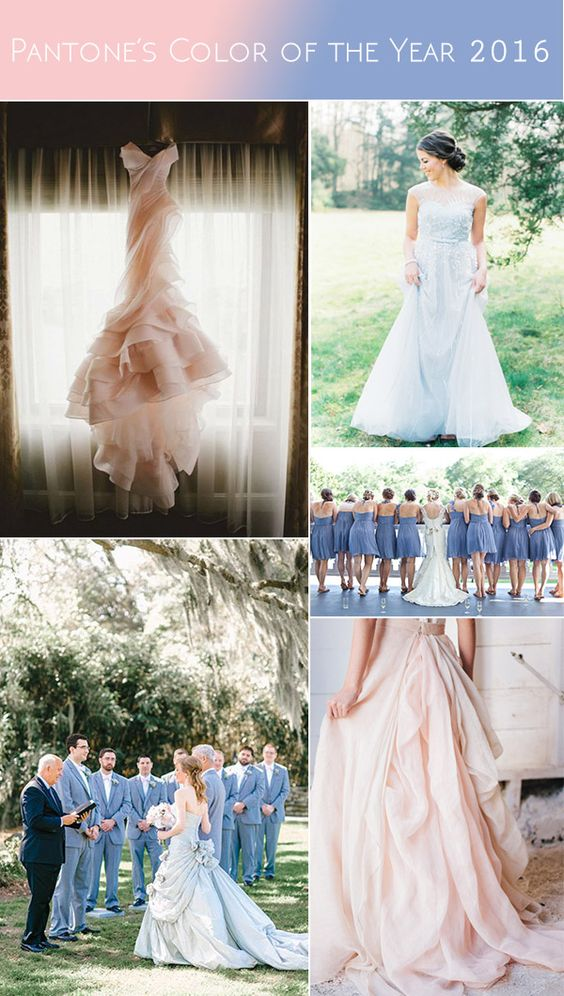 pantone's color of the year 2016 wedding dresses and bridesmaid dresses: