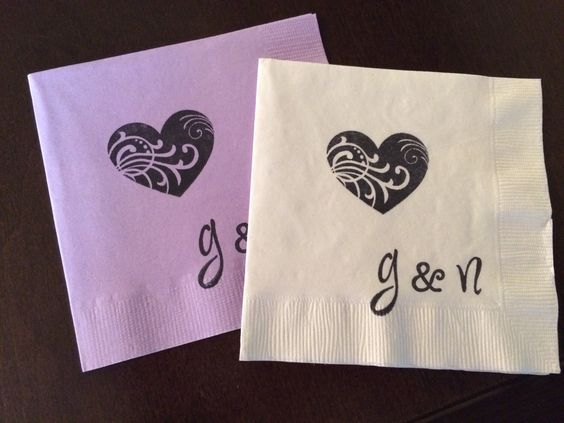 Personalized Heart Napkins - Engagement Party, Wedding Napkin, Cocktail Cake, Bridal Shower, Bachelorette Party, Custom Napkin, Heart Theme by SteshaParty on Etsy https://www.etsy.com/listing/239310419/personalized-heart-napkins-engagement